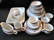 Lenox Casual Images Diamond Ring White With Rim 34 Piece Set Service For 4 Vtg