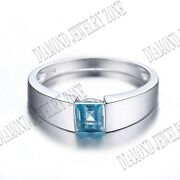 Sterling Silver 5.5x5.5mm Sky Blue Topaz Smooth Surface Engagement Party Ring