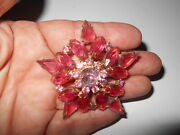 Large Vintage High End Pink Open Back Andrhinestone Star Brooch Pin 2 1/2