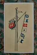 Rare Original Vintage Phillips 66 Water Decal Gas Station Nautical Flags Pennant