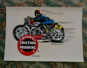 Vintage Original Wynnand039s Friction Proofing Water Decal Motorcycle Racing Old Oil