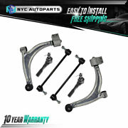 6pc Front Lower Control Arms Outer Tie Rods Sway Bar Link For 04-12 Chevy Malibu
