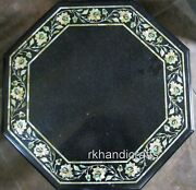 30 Inches Marble Dinette Table Top Black Coffee Table With Vintage Art At Border