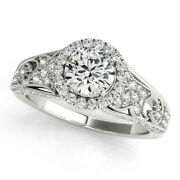 Real 1.10ct Round Cut Diamond Engagement Ring 14k White Gold Size 4