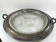 Antique Derby S.p. Co. International 1429 Tray W/ Glass Divided Dish Insert