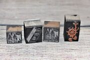 4 Old Spice Metal Print Ink Blocks Ship Anchor And Wheel Vintage Collectible