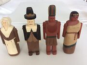 Set/4 Rare Wolf Creek Hand Carved Thanksgiving Pilgrims/indians Native Americans
