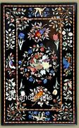 Black Marble Center Table Top Marquetry Art Dinning Table For Cottage Handicraft