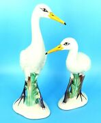 2 Hand Painted Made In Italy Beach Water Crane Bird Porcelain Figurines 12.5