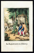 Antique Print-snake Attack-natives-east Indies-fritsche-1850