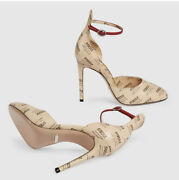 Leather Invite Print Heel Pumps Shoes - Brand New - Rrp1450 Aud