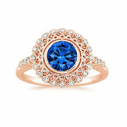1.50 Ct Natural Diamond Real Blue Sapphire Ring 14k Rose Gold Size 8 9