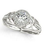 0.90 Ct Round Cut Real Diamond Engagement Ring 14k White Gold Size 6 7 8