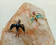 2 Victorian Enamel Hand Painted Swallow Brooch/pins C Clasps