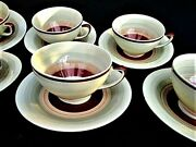 6 Vintage Art Deco 'wedding Ring' Cups And Saucers By Susie Cooper - England