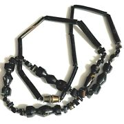 Stunning Antique Estate Hawaiian Hand Carved Black Coral Bead Necklace 18 Long