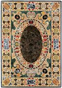 Marble Lawn Table Top Mosaic Art Dinette Table With Semi Precious Stone Inlaid