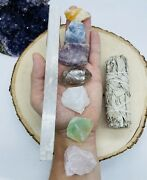 Healing Crystals 7 Chakra Set Selenite Included W/ Sage Raw Natural Reiki Stones