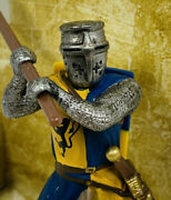 2003 Schleich Knights - Knight With Battle Axe -- Retired - Blue/ Gold - 70003
