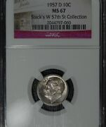 1957-d Roosevelt Dime Ngc Ms67 Toned Stacks W57th St. Collection