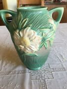 """Roseville Pottery Usa Green With White Peony 63-8"""" Handled Vase"""