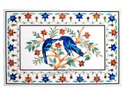 Marble Wall Panel Semi Precious Stone Inlay Center Table Top With Unique Design