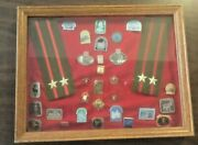 Lot Russian Medals Badges Insignias Ussr Military Pins Cccp - Framed