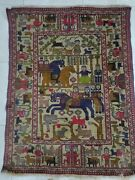 Antique Persian Hand Knotted Carpet Rug Wool Decor Floor / Wall 5 Fit X 4 Fit
