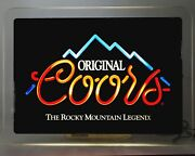 Vintage Original Coors Lighted The Rocky Mountain Legend Beer Sign Rare