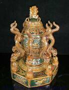 14 Old China Wucai Porcelain Dynasty Palace 8 Dragon Toad Seismograph Sculpture
