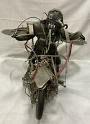 Original John Balsley Sculpture Large Winged Motorcycle Rider Steampunk Mad Max