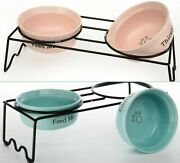 ❤️new❤️ Paws Feed Me Thirsty Pet Bowls Set With Rack Stand Signature Housewares