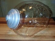 Large Antique Candy Store Jar 19th Century Mold Blown Glass Tin Lid Apothecary
