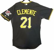 Roberto Clemente Authentic 40 Med. Pittsburgh Pirates Majestic Cool Base Jersey
