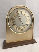 Bulova Brushed Brass Mantle Clock W/ Thermometer Hydrometer And Barometer 4rg429
