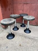 4 Antique Ice Cream Parlor Stools Bar Chairs Soda Fountain Cast Iron Industrial