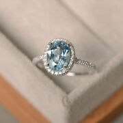 Solide 14k Or Blanc 2.30 Ct Ovale Naturel Diamant Vrai Aigue-marine Taille M N