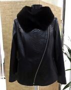 All Sizes Womenand039s Genuine Python Leather Real Fox Fur Collar Black Snake Jacket