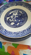 9 Vintage Old Willow Mylott + 5 Blue Dishes Plus Bowls Churchill Plates England