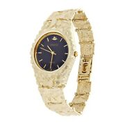 Menand039s 10k Yellow Gold Nugget Link Geneve Wrist Watch Adjustable 7-7.5 47 Grams