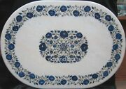 30 X 42 Inches Marble Hall Table Top With Lapis Lazuli Stone Work Island Table