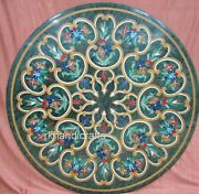36 Inches Green Marble Reception Table Top Stone Coffee Table With Vintage Art