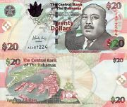Bahamas 20 Dollar Banknote World Paper Money Unc Currency Pick P74a 2010 Bill