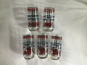 Vintage Set Of 5 Pepsi Cola Glasses Style Stained Glass Drinking Glasses