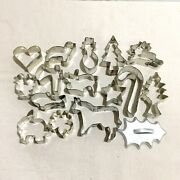 Vintage Lot Of 16 Metal Cookie Cutters Holiday Christmas Animals Star