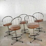5 Cosco Modern Chrome Bar Or Counter Stools With Brown Vinyl Faux Leather