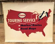 🔥early Vintage Esso Touring Service Road Maps Window Sign Decal Sticker🔥