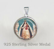 Our Lady Of Charity El Cobre Cuba Catholic Medal. 925 Sterling Silver Pendant