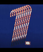 Set Of 8 Lighted Candy Cane Christmas Lawn Stakes W/8 Functions And Remote As