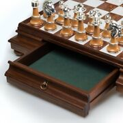 Real Brass/silver/gold Andamp Wood Chess Set With Luxurious Alabaster Game Board